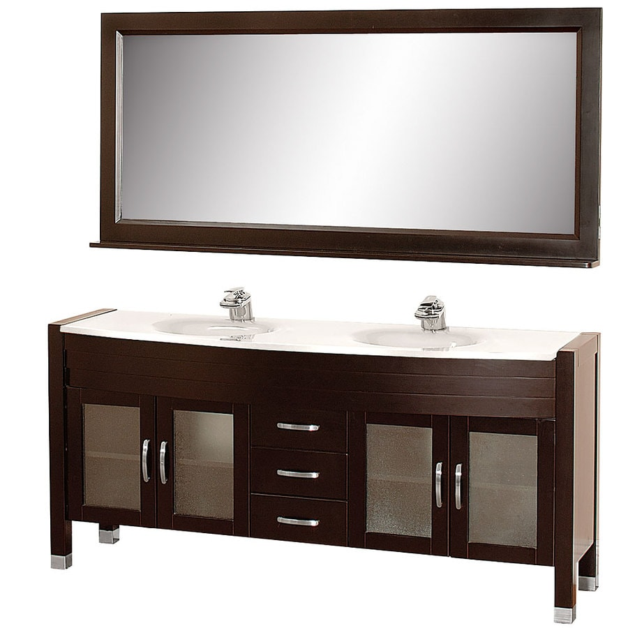 Wyndham Collection Daytona Espresso (Common: 71-in x 22-in) Integral Double Sink Oak Bathroom Vanity with Glass Top (Mirror Included) (Actual: 70.75-in x 21.5-in)
