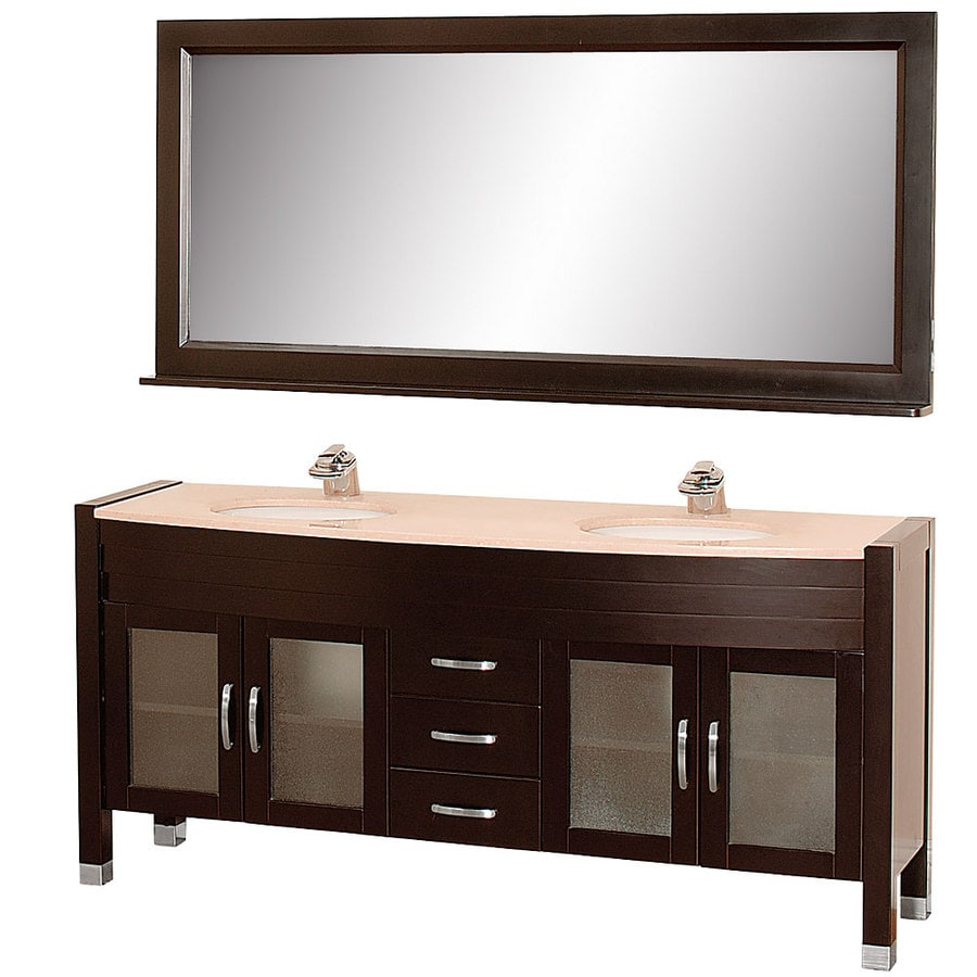 Wyndham Collection Daytona Espresso Undermount Double Sink Bathroom Vanity with Natural Marble Top (Common: 71-in x 22-in; Actual: 70.75-in x 21.5-in)