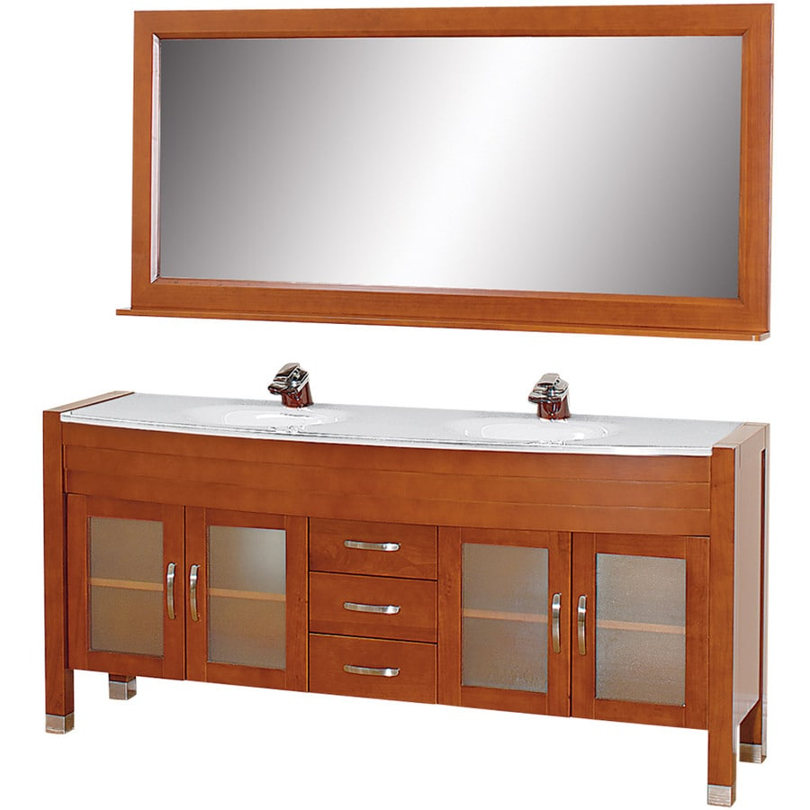 Wyndham Collection Daytona Cherry 70.75-in Integral Double Sink Oak Bathroom Vanity with Glass Top (Mirror Included)