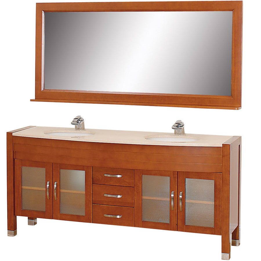 Wyndham Collection Daytona Cherry Integrated Double Sink Bathroom Vanity with Natural Marble Top (Common: 71-in x 22-in; Actual: 70.75-in x 21.5-in)