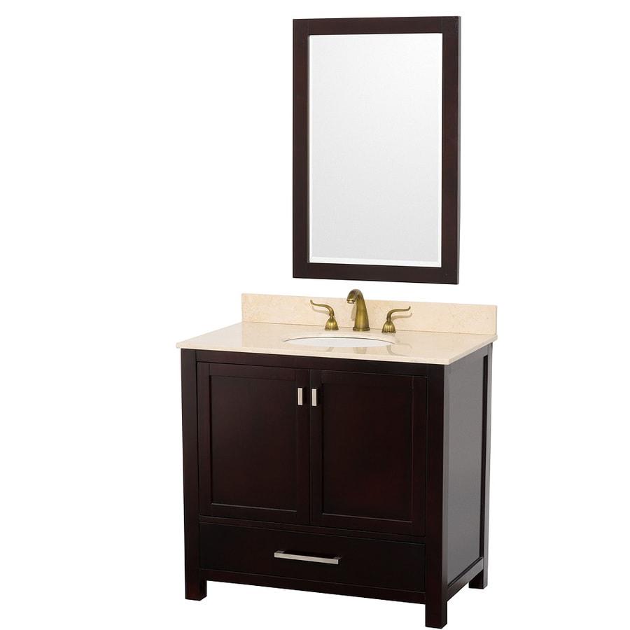 Wyndham Collection Abingdon Espresso Integral Single Sink Oak Bathroom Vanity with Natural Marble Top (Mirror Included) (Actual: 37-in x 21.5-in)