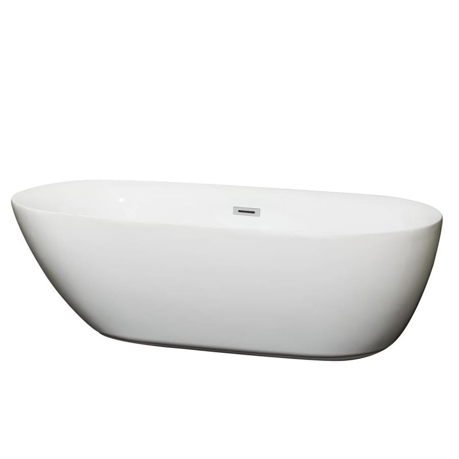 Wyndham Collection Melissa White Acrylic Oval Freestanding Bathtub with Center Drain (Common: 33-in x 71-in; Actual: 21.25-in x 32.5-in x 70.75-in)