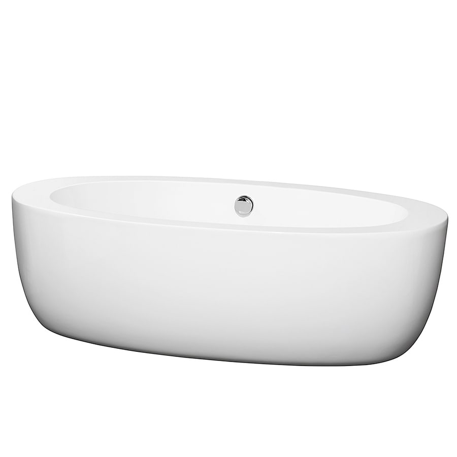 Wyndham Collection Uva 69-in White Acrylic Freestanding Bathtub with Center Drain