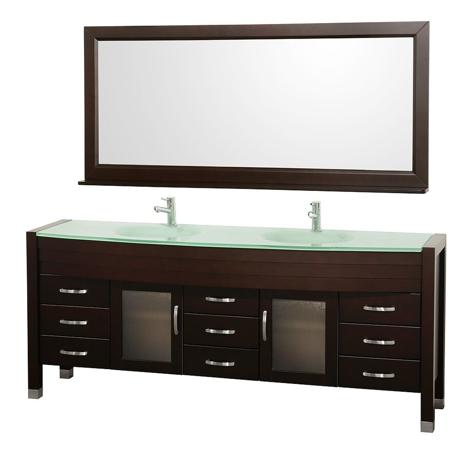 Wyndham Collection Daytona Espresso (Common: 78-in x 22-in) Integral Double Sink Oak Bathroom Vanity with Tempered Glass and Glass Top (Mirror Included) (Actual: 78-in x 21.675-in)