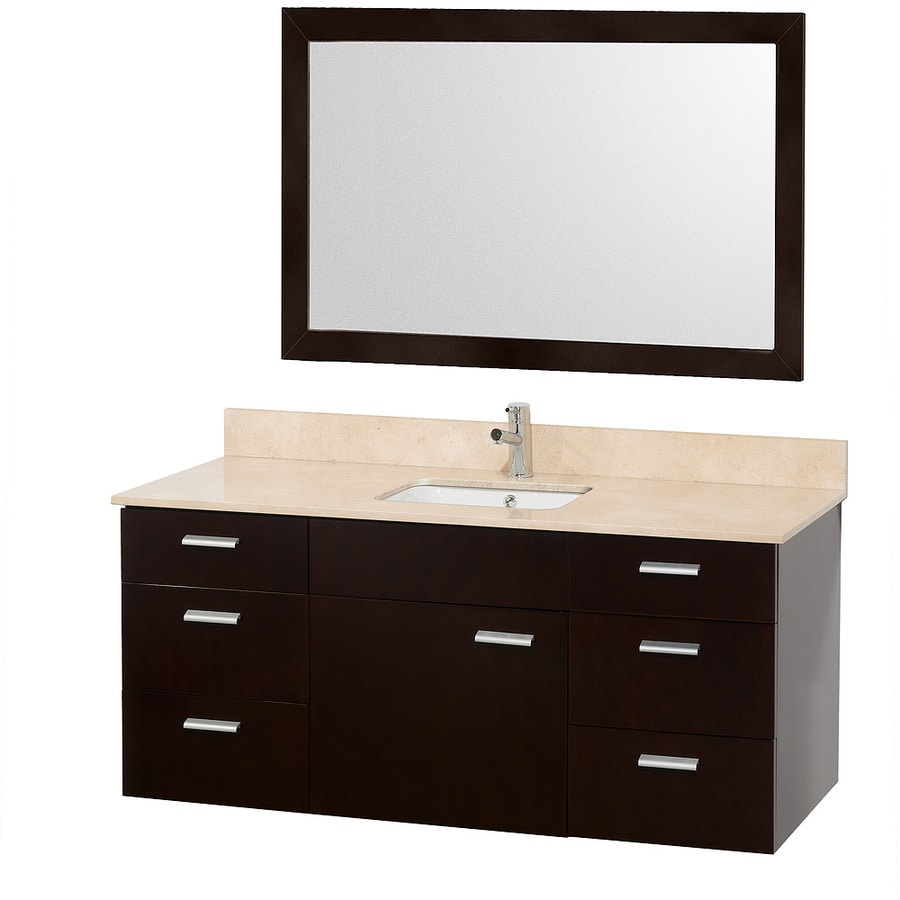 Wyndham Collection Encore Espresso Undermount Single Sink Bathroom Vanity with Natural Marble Top (Common: 50-in x 22-in; Actual: 52-in x 22-in)