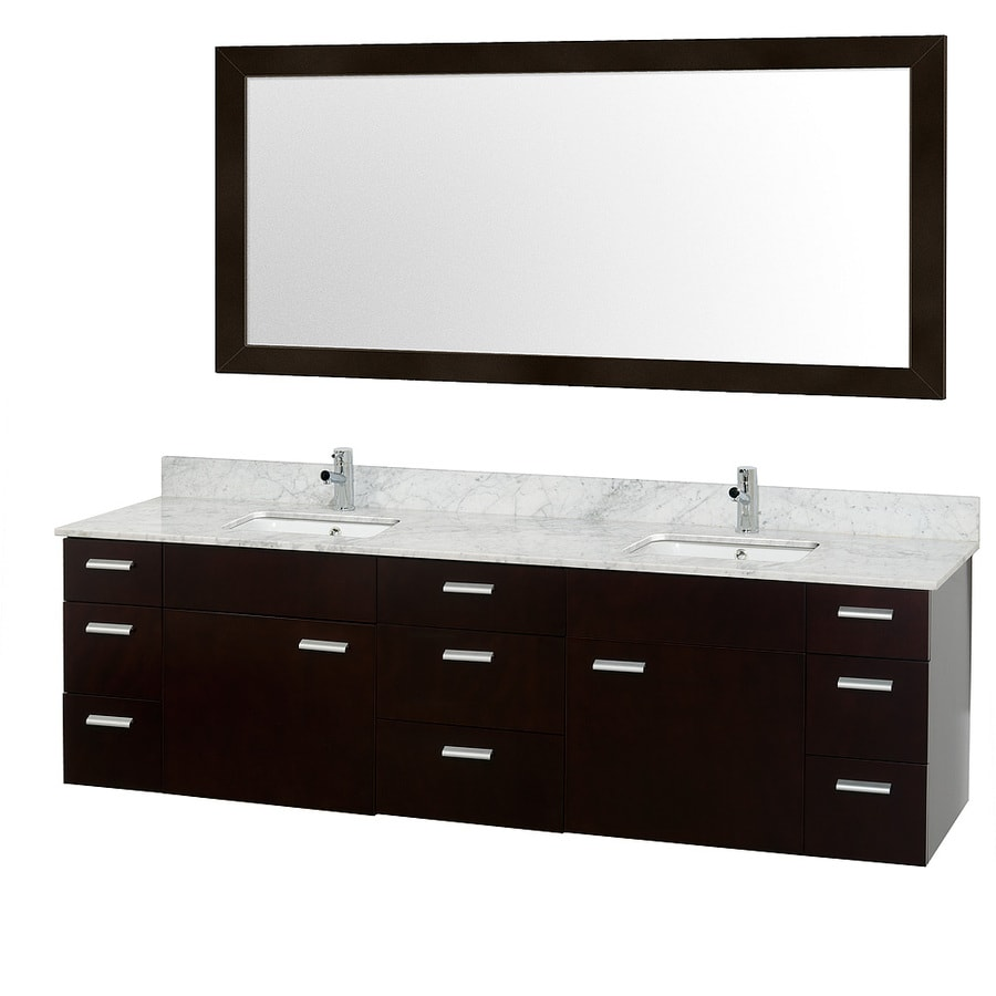 Wyndham Collection Encore Espresso Undermount Double Sink Bathroom Vanity with Natural Marble Top (Common: 78-in x 22-in; Actual: 78-in x 22-in)