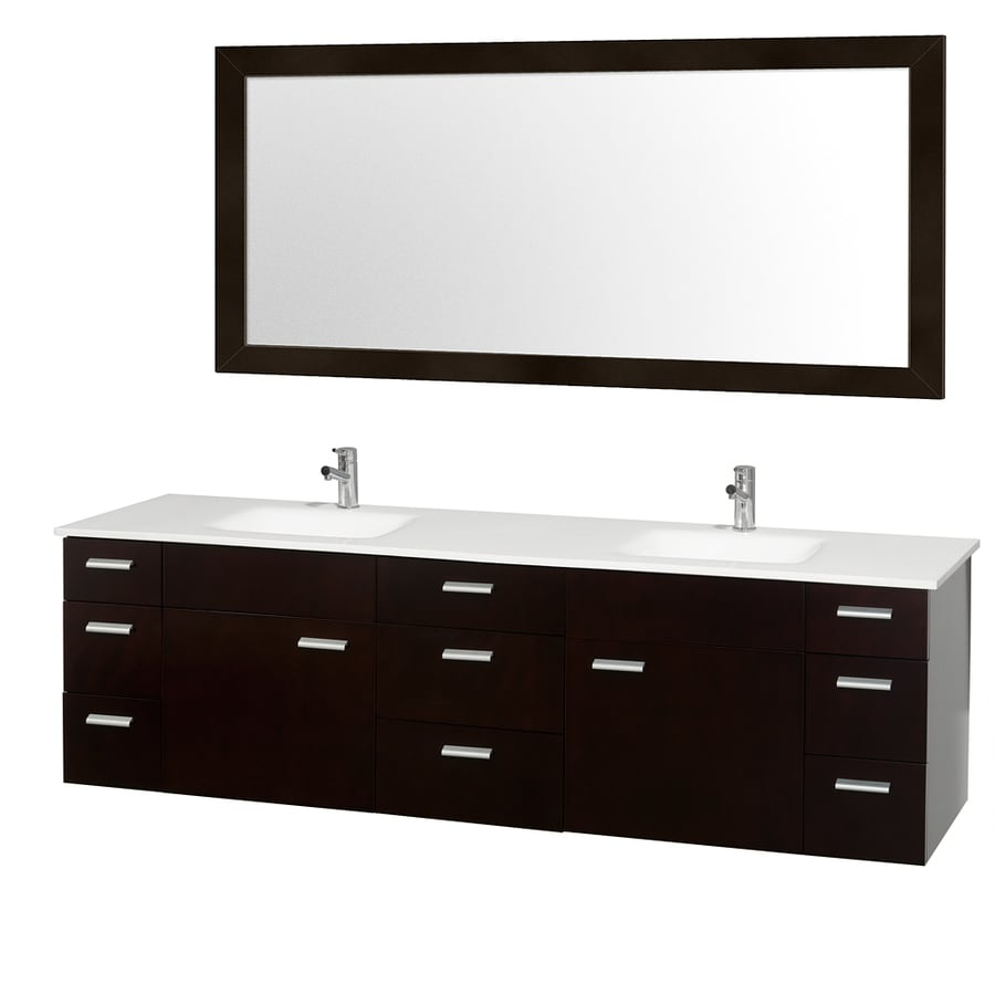 Wyndham Collection Encore Espresso 78-in Integral Double Sink Bathroom Vanity with Engineered Stone Top (Mirror Included)