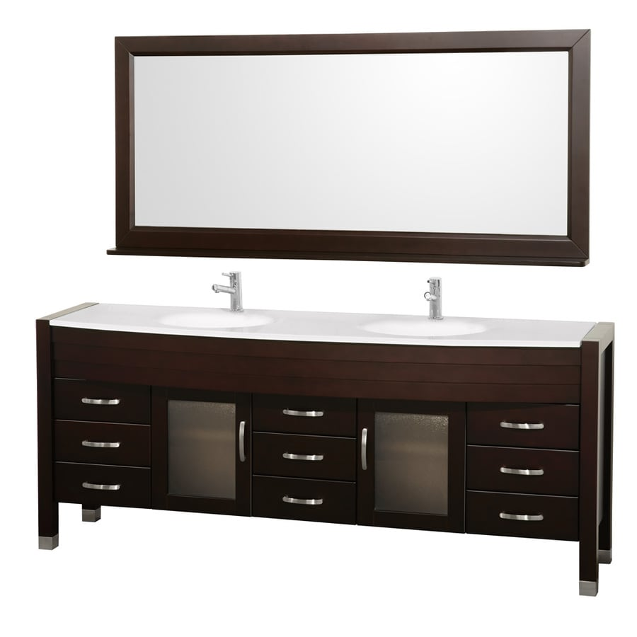 Wyndham Collection Daytona Espresso 77.88-in Integral Double Sink Oak Bathroom Vanity with Engineered Stone Top (Mirror Included)