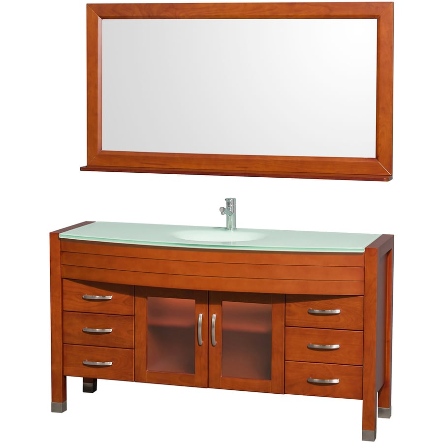 Wyndham Collection Daytona Cherry (Common: 60-in x 22-in) Integral Single Sink Oak Bathroom Vanity with Tempered Glass and Glass Top (Mirror Included) (Actual: 60-in x 22-in)