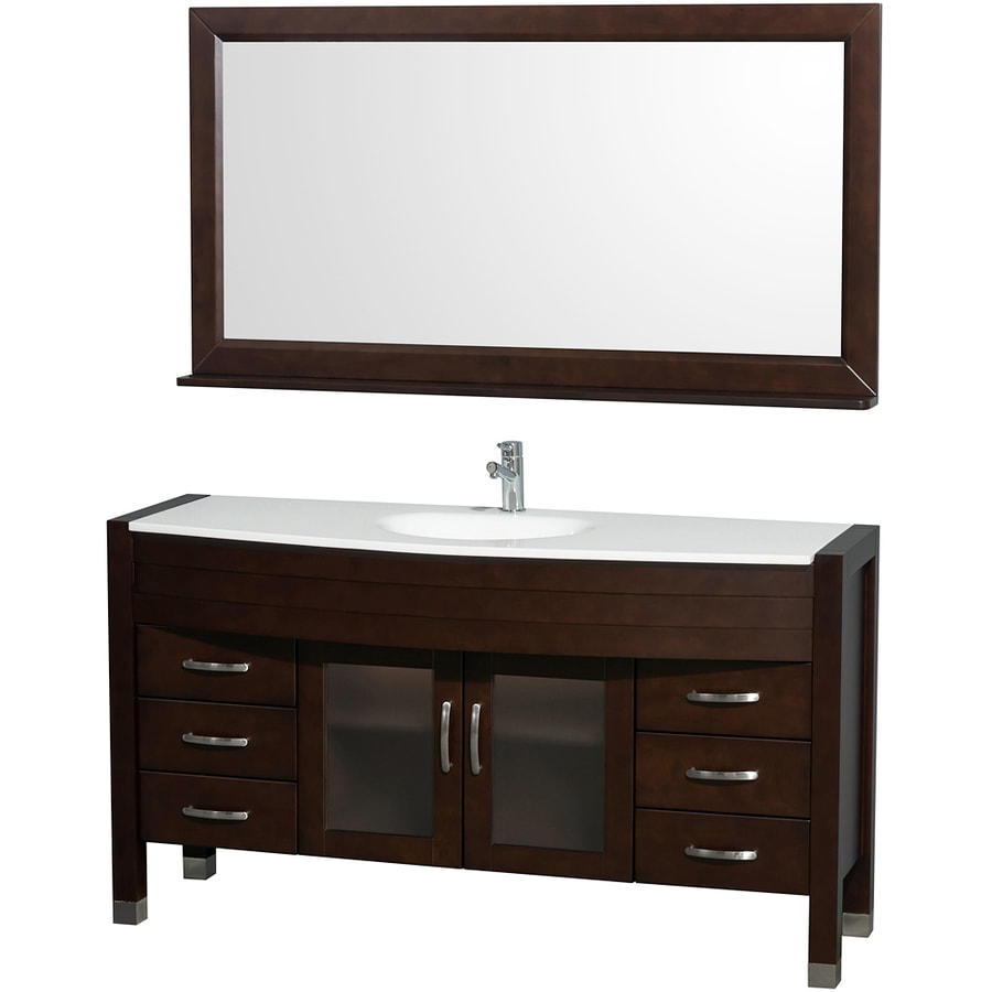 Wyndham Collection Daytona Espresso 60-in Integral Single Sink Oak Bathroom Vanity with Engineered Stone Top (Mirror Included)