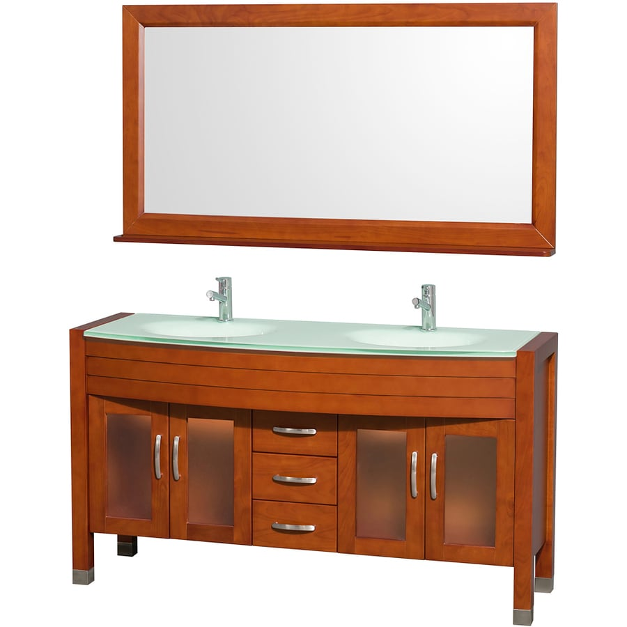 Wyndham Collection Daytona Cherry (Common: 60-in x 22-in) Integral Double Sink Oak Bathroom Vanity with Tempered Glass and Glass Top (Mirror Included) (Actual: 60-in x 22-in)