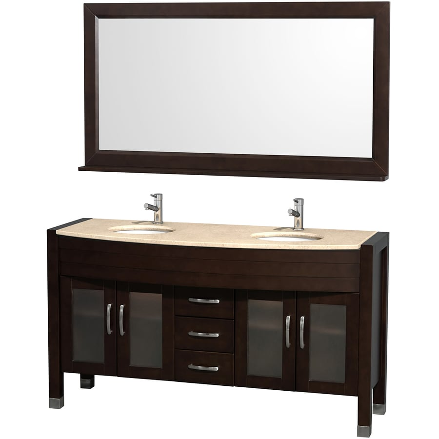 Wyndham Collection Daytona Espresso Undermount Double Sink Bathroom Vanity with Natural Marble Top (Common: 60-in x 22-in; Actual: 60-in x 22-in)