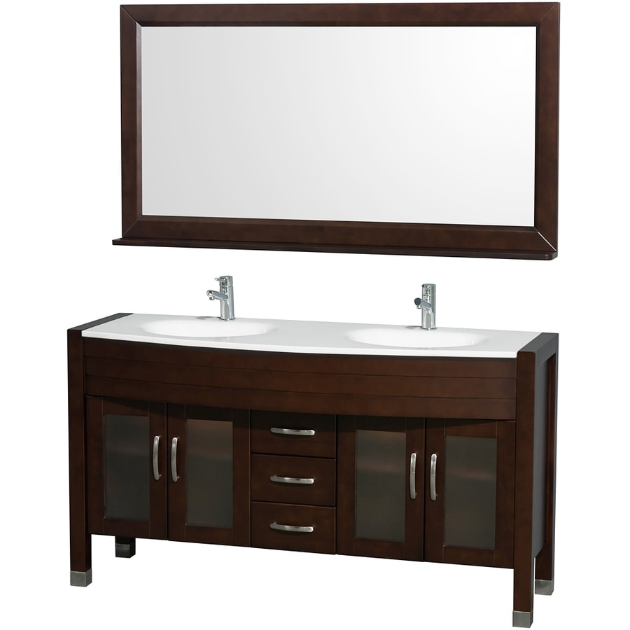 Wyndham Collection Daytona Espresso Integrated Double Sink Bathroom Vanity with Engineered Stone Top (Common: 60-in x 22-in; Actual: 60-in x 22-in)