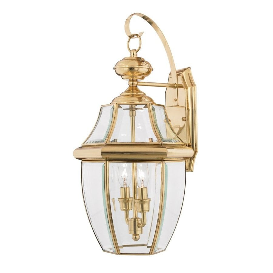 Natalia 12-in W 2-Light Polished Brass Pocket Wall Sconce
