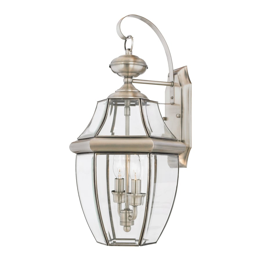 Natalia 12-in W 2-Light Pewter Pocket Hardwired Wall Sconce