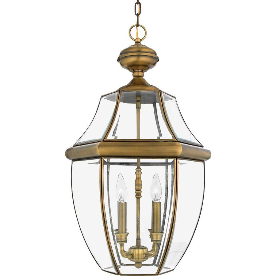 Natalia 19-in Antique Brass Outdoor Pendant Light