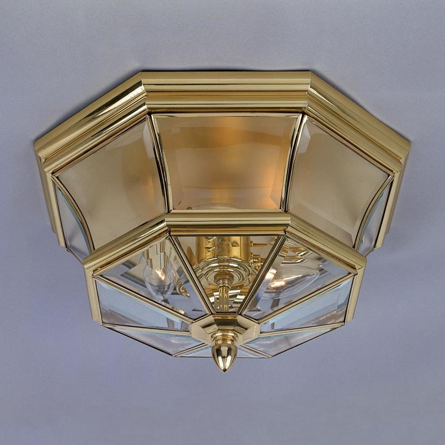 Natalia 18-in W Polished Brass Outdoor Flush-Mount Light