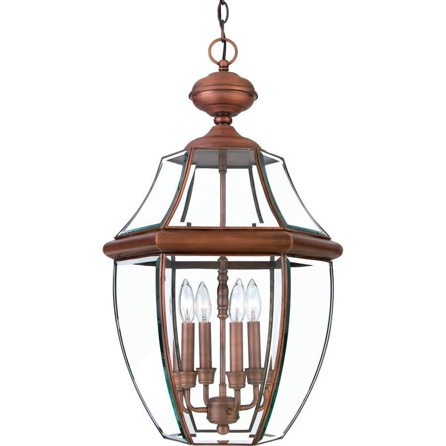 Natalia 19-in Aged Copper Outdoor Pendant Light