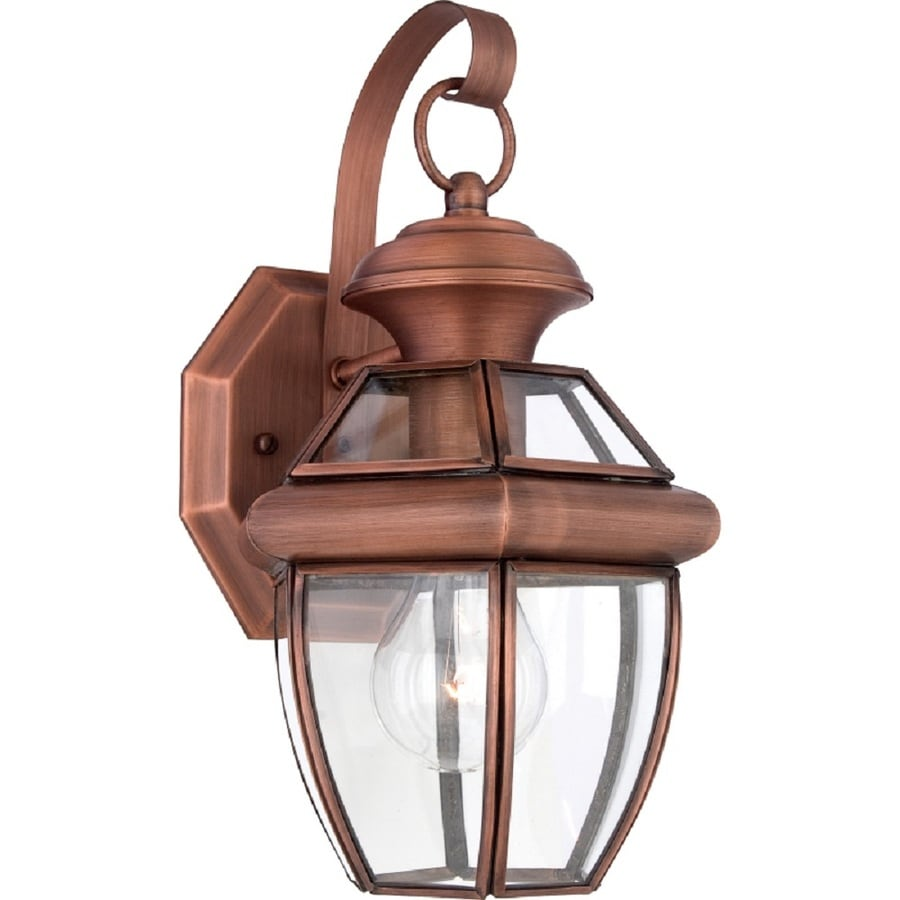 Natalia 8-in W 1-Light Aged Copper Pocket Hardwired Wall Sconce