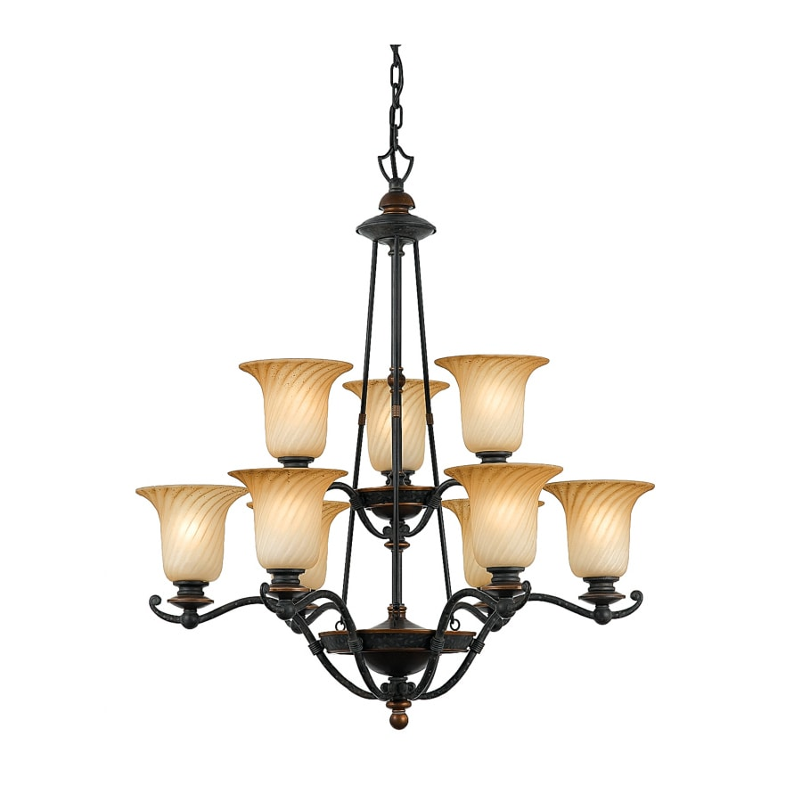 Natalia 29-in 9-Light Stonehedge Tiered Chandelier