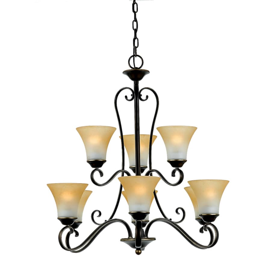Natalia 26-in 9-Light Palladian Bronze Tiered Chandelier