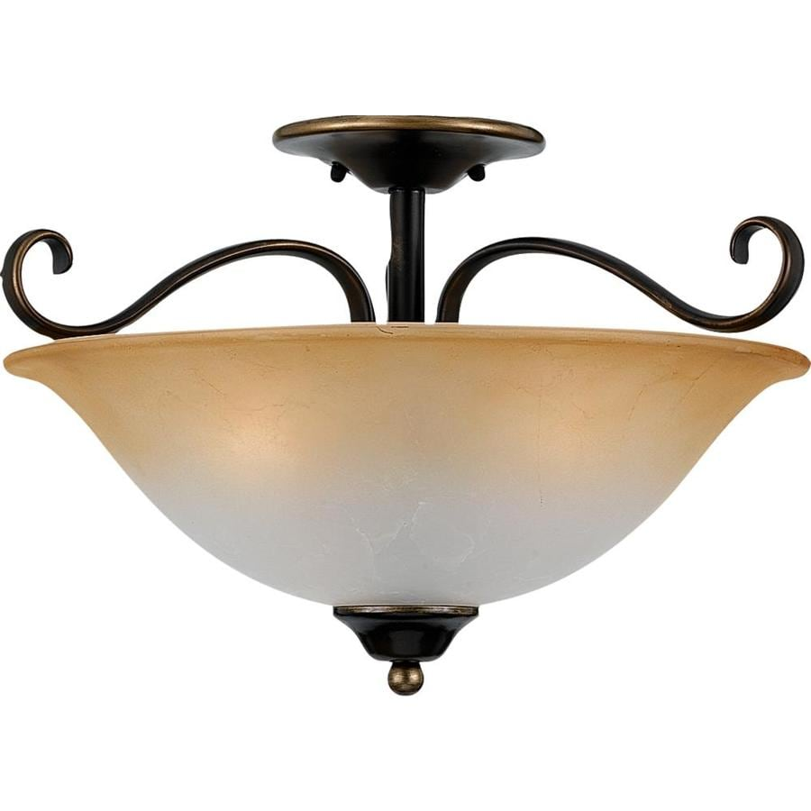 19.5-in W Palladian Bronze Tea-Stained Glass Semi-Flush Mount Light