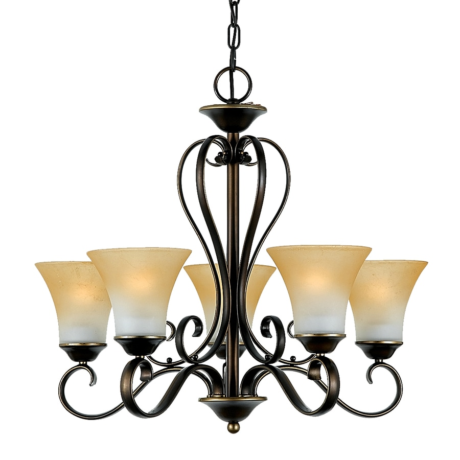 Natalia 22-in 5-Light Palladian Bronze Candle Mini Chandelier