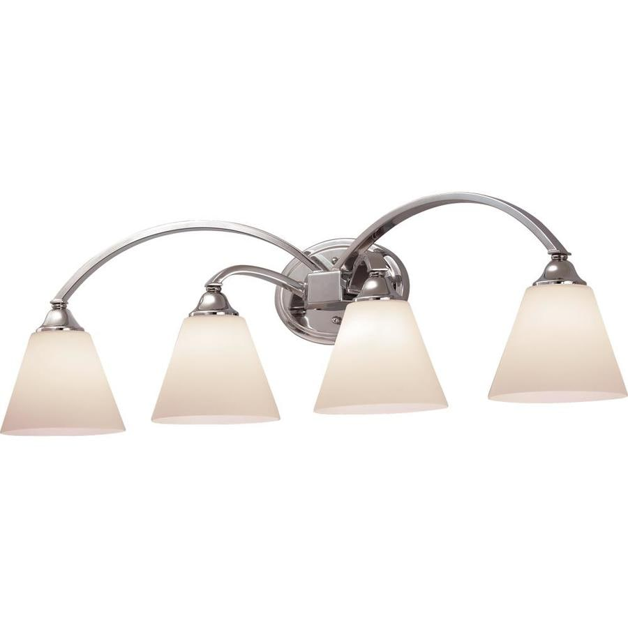 Shop Portfolio Brandt 4-Light 9.5-in Polished Chrome Bell Vanity Light at Lowes.com