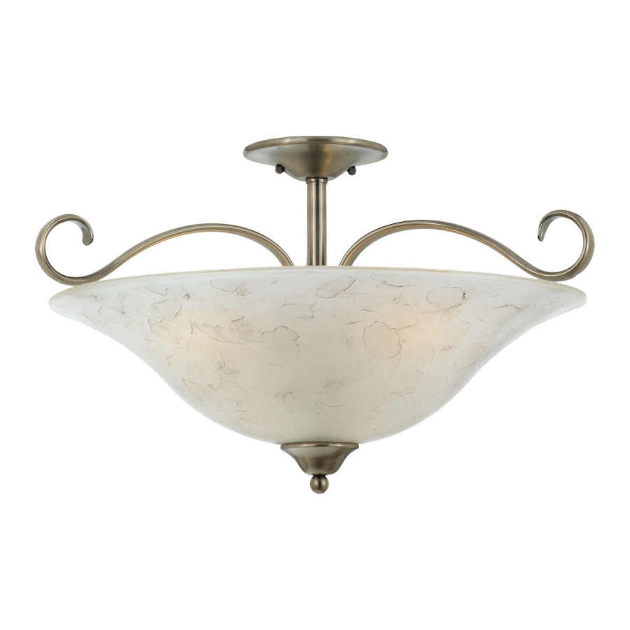 22.5-in W Antique Nickel Frosted Glass Semi-Flush Mount Light
