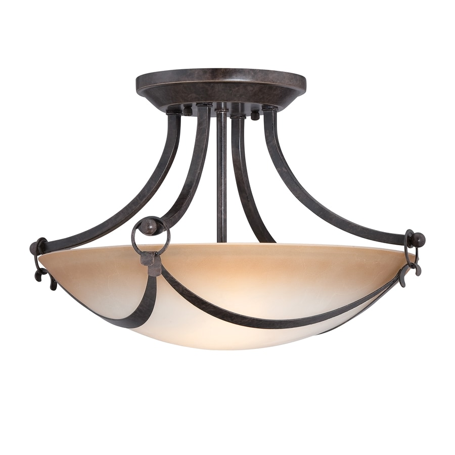 allen + roth Winnsboro 15.5-in W Oil Rubbed Bronze Marbleized Semi-Flush Mount Light