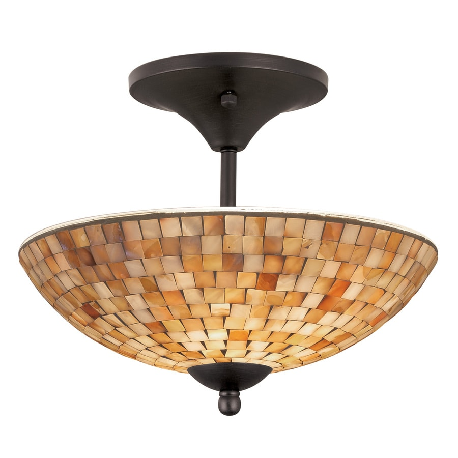 allen + roth St. Pierre 13.5-in W Aged Bronze Opalescent Glass Semi-Flush Mount Light