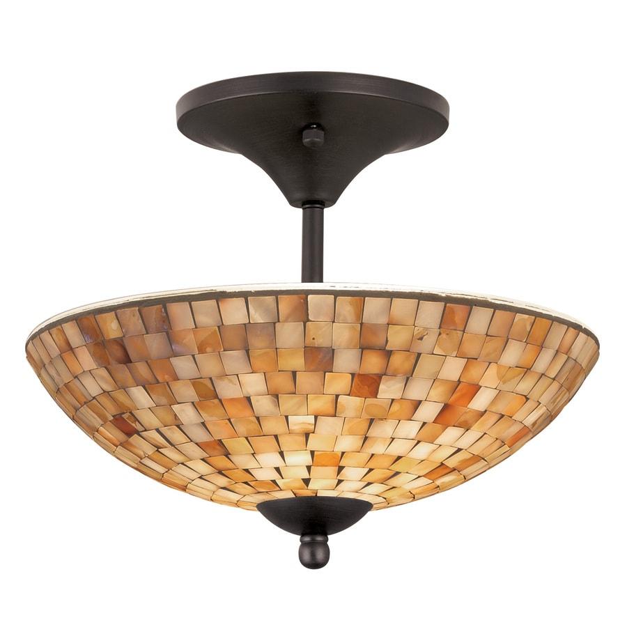 allen + roth St. Pierre 13.5-in W Aged Bronze Opalescent Glass Semi-Flush Mount Light