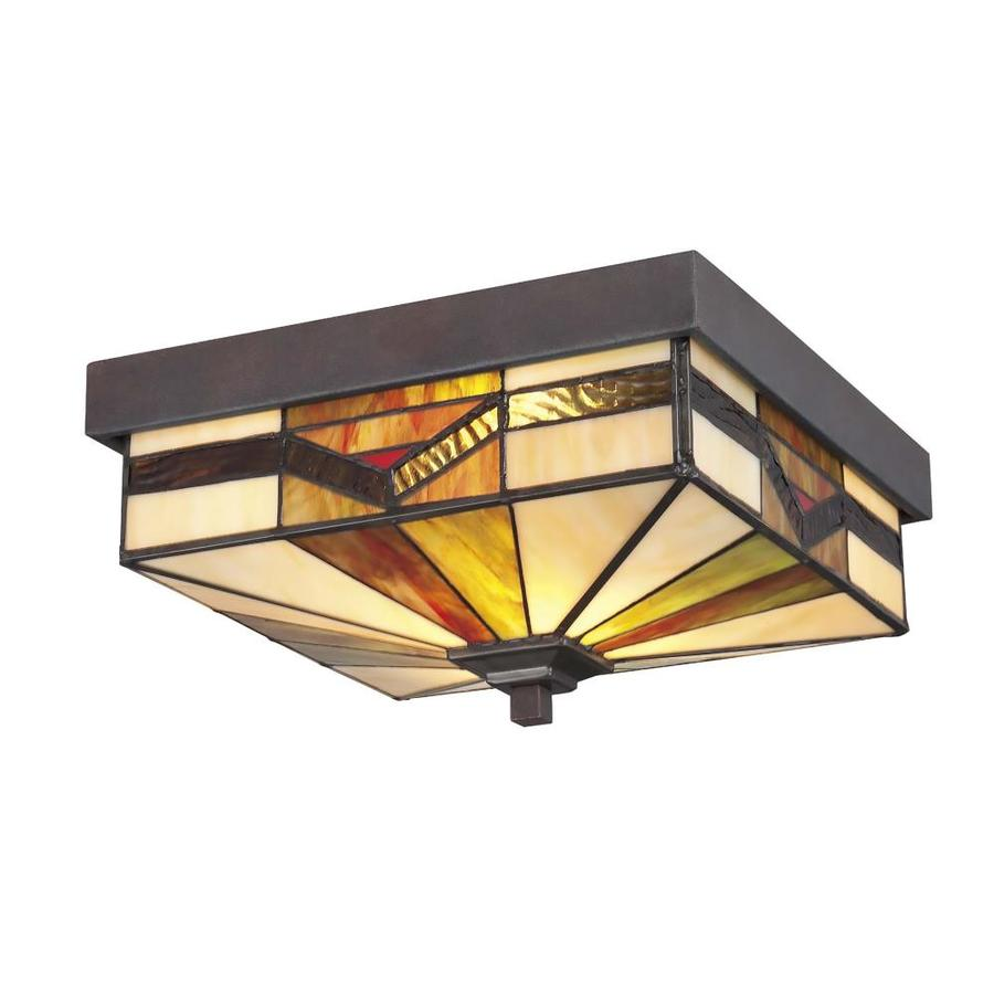allen + roth Vistora 11-in W Bronze Outdoor Flush-Mount Light