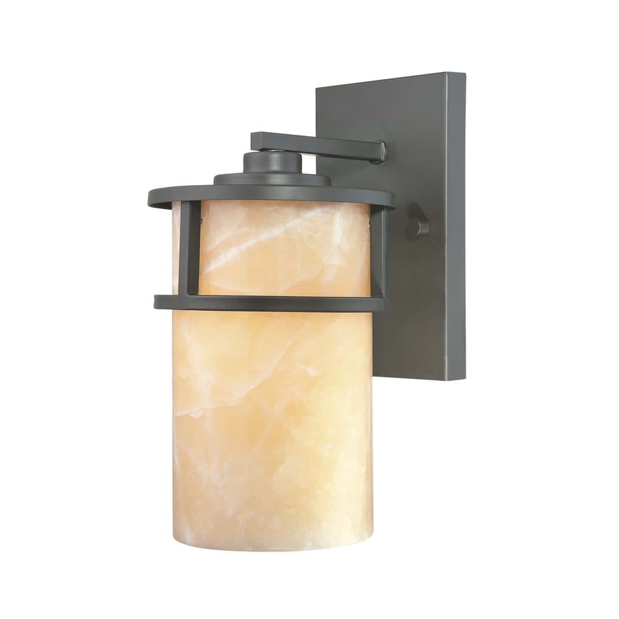 allen + roth 1 Light Md. Wall Lantern, Bronze Finish with Onyx shade