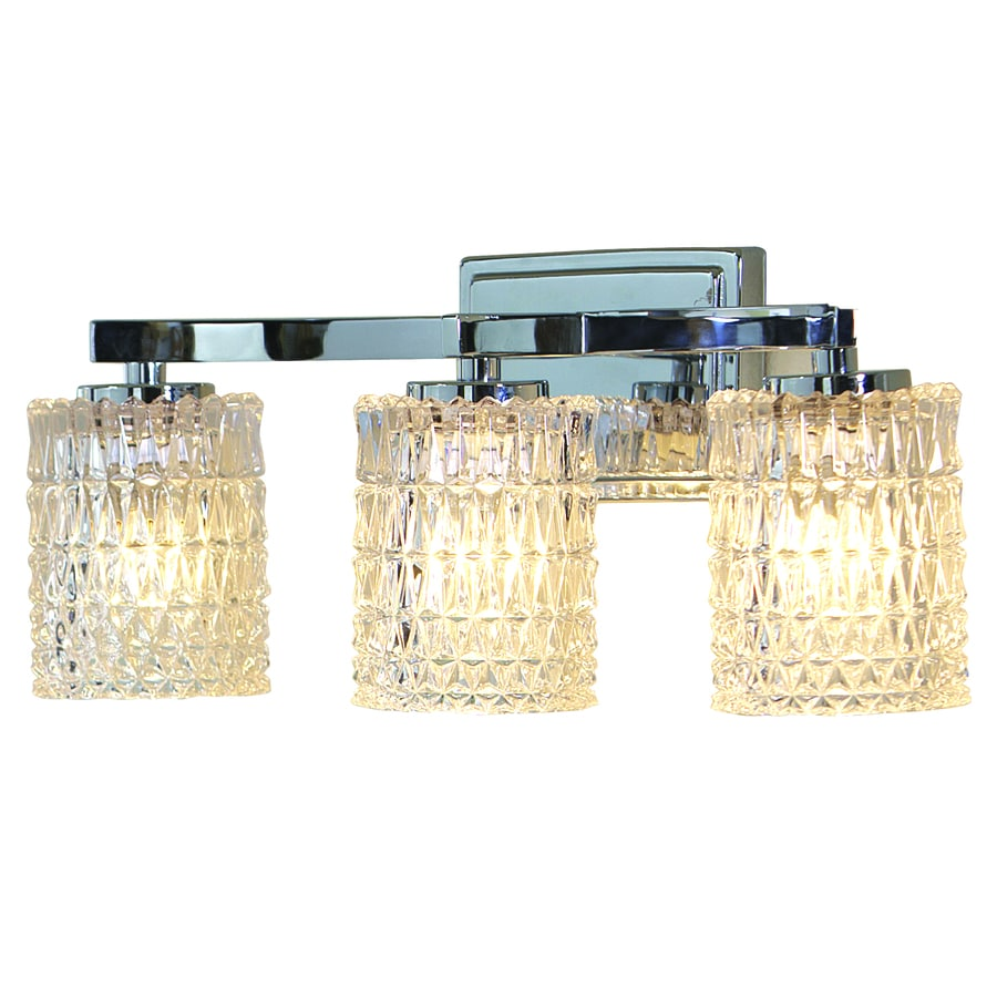allen + roth Flynn 3-Light 8.5-in Polished Chrome Cylinder Vanity Light