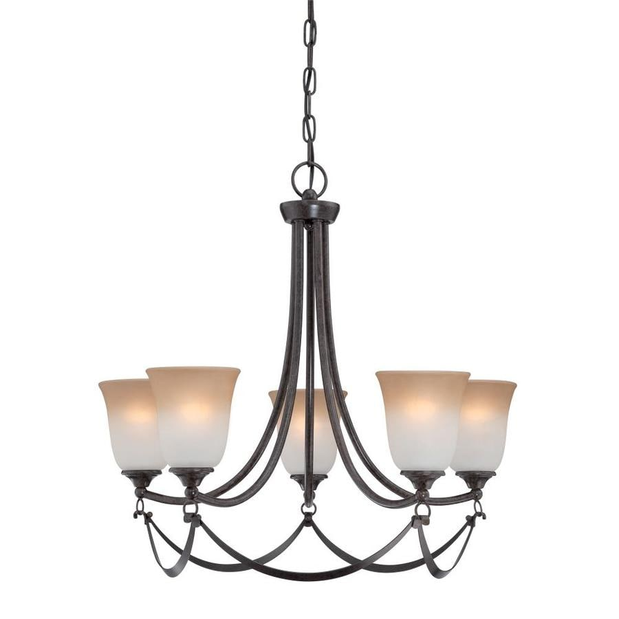 allen + roth Winnsboro 25-in 5-Light Oil-Rubbed bronze Coastal Marbleized Glass Tiered Chandelier