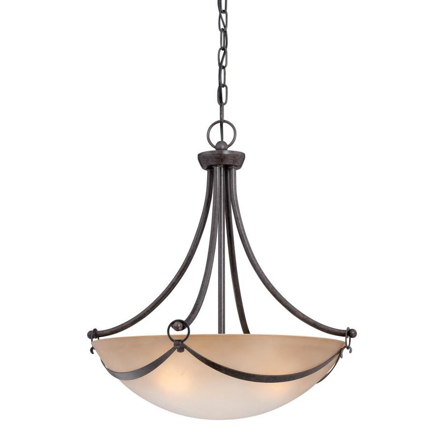 allen + roth Winnsboro 19.5-in Bronze Wrought Iron Hardwired Multi-Light Marbleized Glass Bowl Pendant