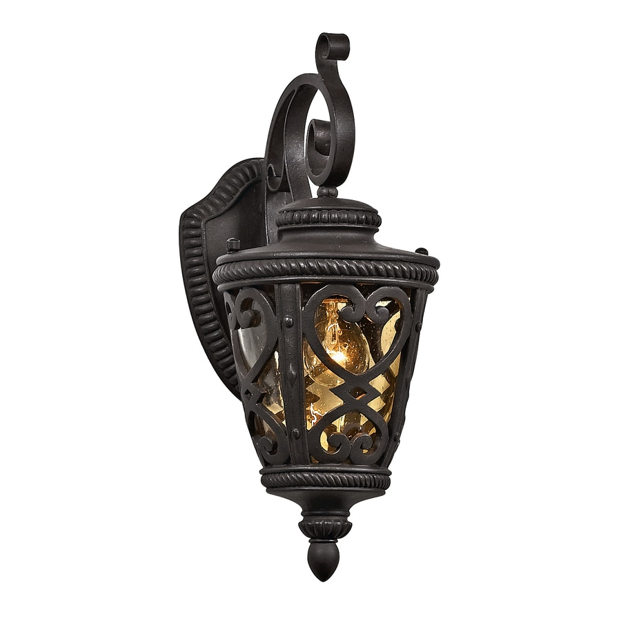 allen + roth Grandura 18.63-in H Marcado Black Outdoor Wall Light