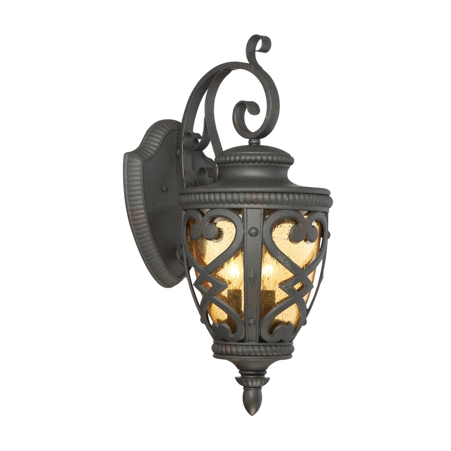 allen + roth Grandura 22.63-in H Black Iron Candelabra Base (E-12) Outdoor Wall Light