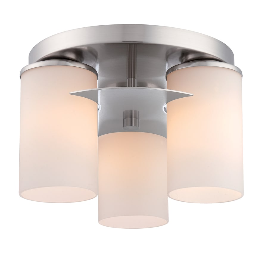 Style Selections Tolrain 11.3-in W Brushed Nickel Flush Mount Light