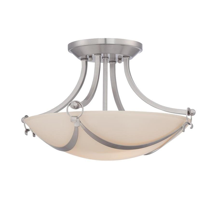 allen + roth Winnsboro 15.25-in W Brushed Nickel Frosted Glass Semi-Flush Mount Light