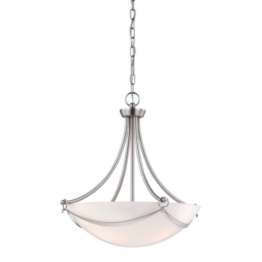 allen + roth Winnsboro 19.5-in Brushed Nickel Multi-Light Tinted Glass Bowl Pendant