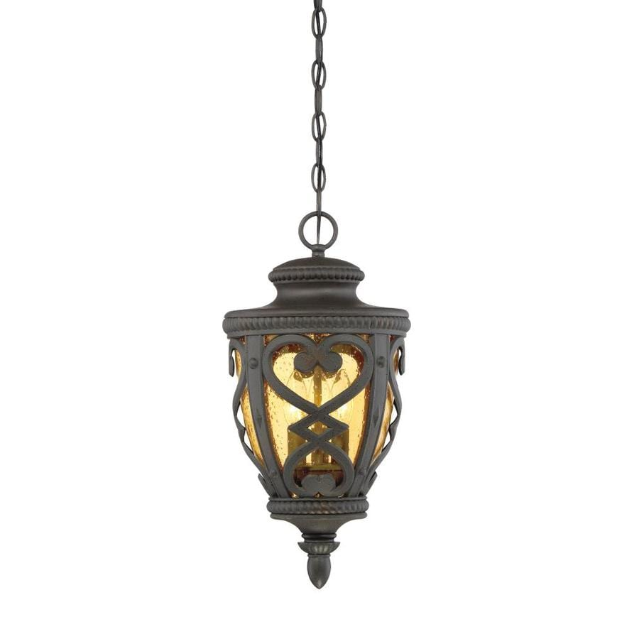 allen + roth Grandura 18.5-in Marcado Black Outdoor Pendant Light