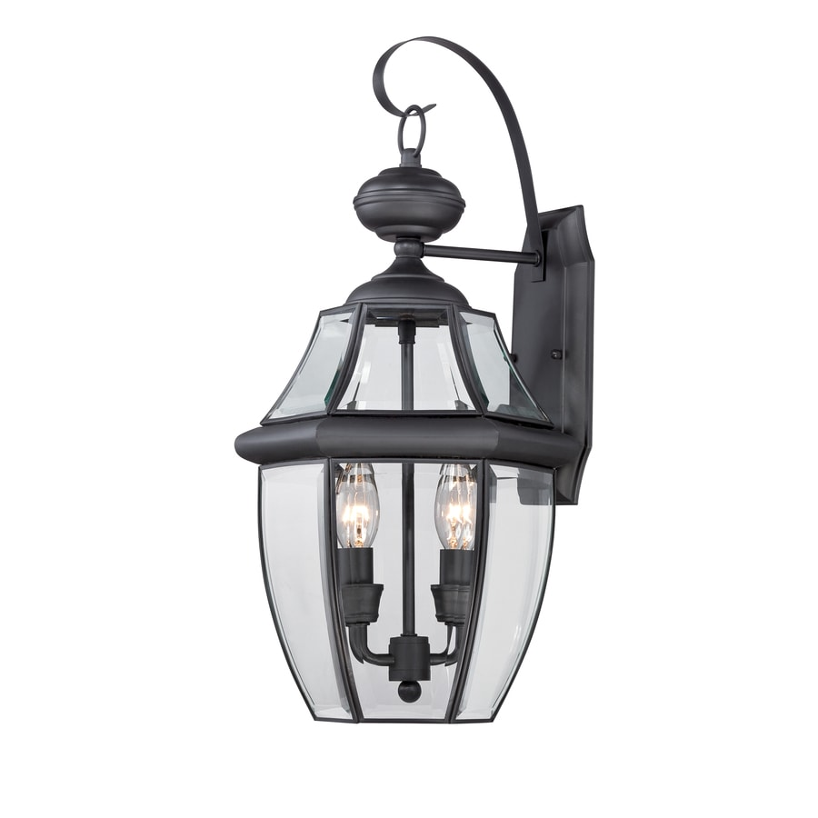 Shop Portfolio Brayden 20.25-in H Mystic Black Outdoor Wall Light at Lowes.com