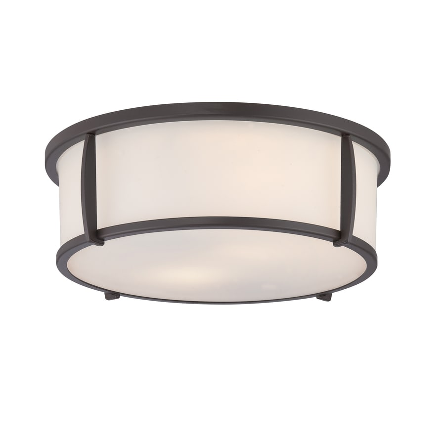 allen + roth 12.91-in W Oil-Rubbed Bronze Flush Mount Light