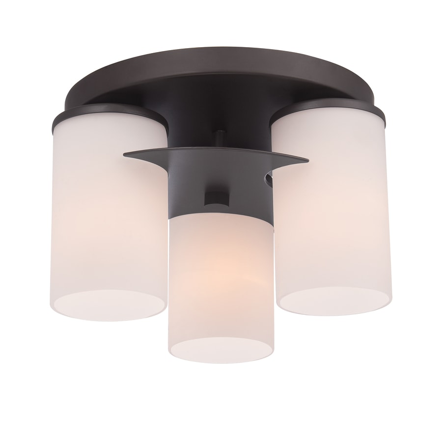 Style Selections Tolrain 11.3-in W Bronze Flush Mount Light
