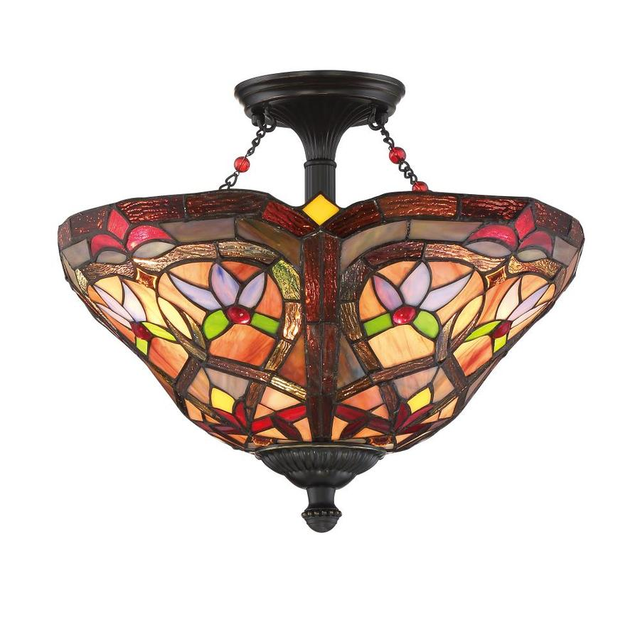 Portfolio 16-in W Bronze Opalescent Glass Tiffany-Style Semi-Flush Mount Light