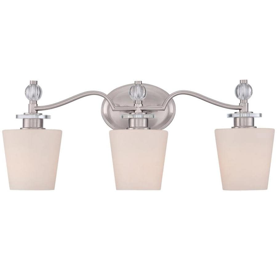 Vanity Lights In Brushed Nickel : Shop Haru 3-Light 9.5-in Brushed Nickel Vanity Light at Lowes.com