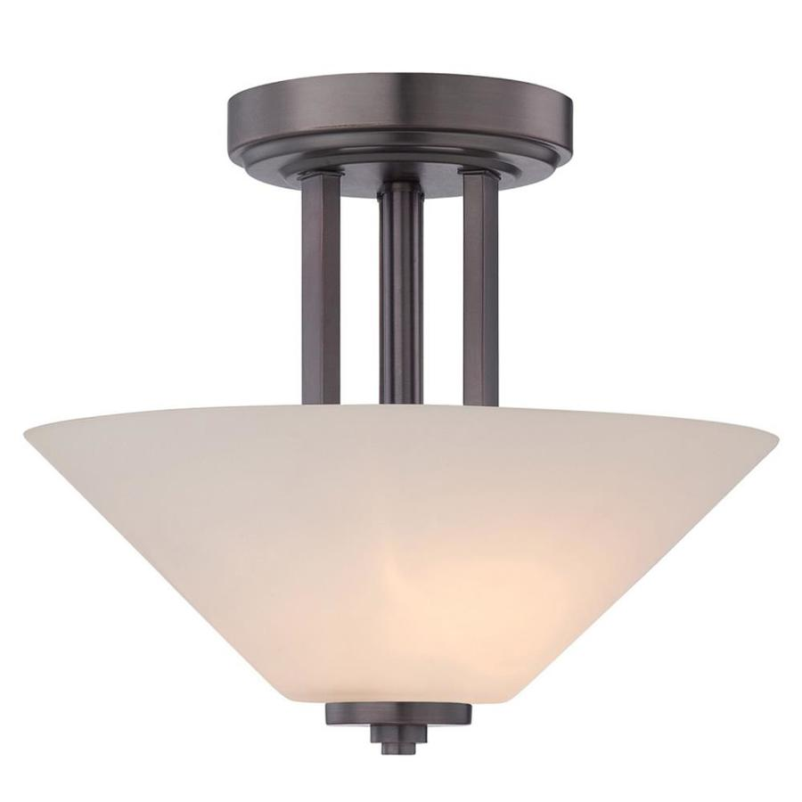 Sookie 13-in W Oil Rubbed Bronze Frosted Glass Semi-Flush Mount Light