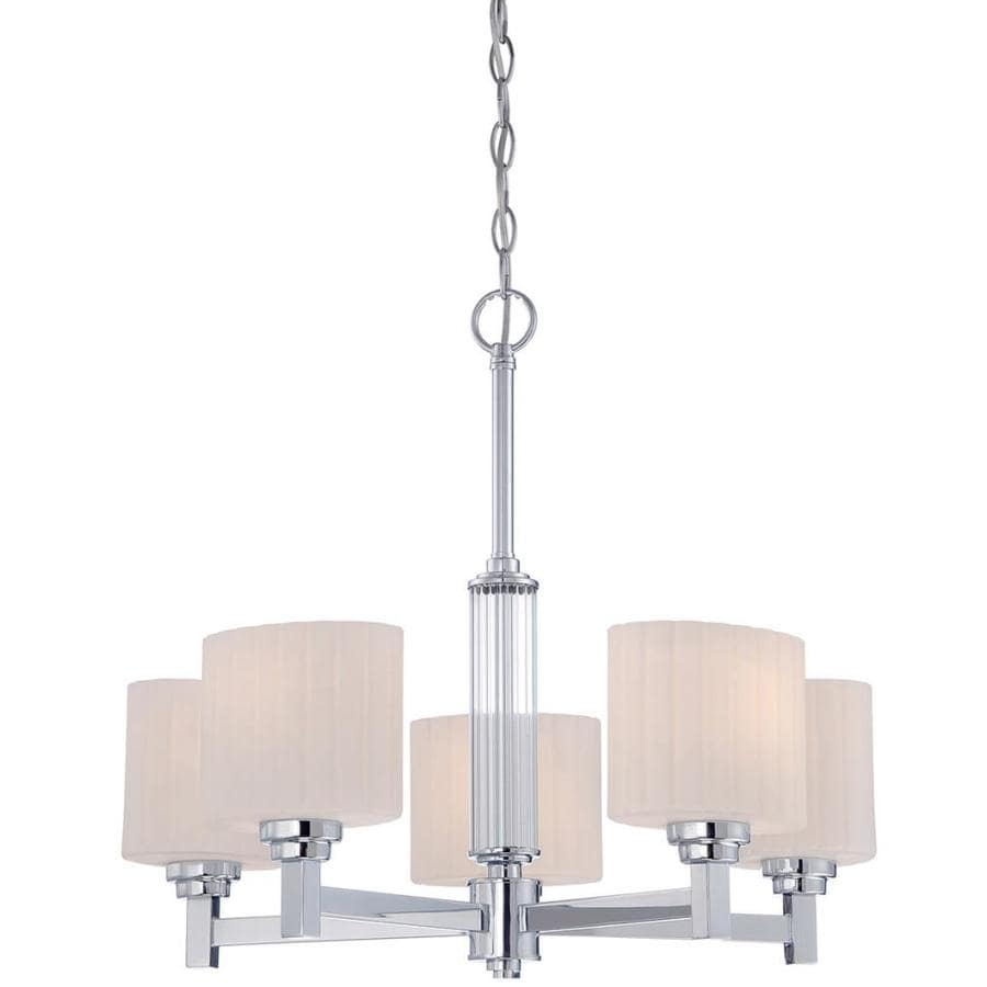 Otep 22-in 5-Light Polished Chrome Etched Glass Candle Chandelier